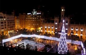 Plaza del Ayuntamiento de Valencia en Navidad