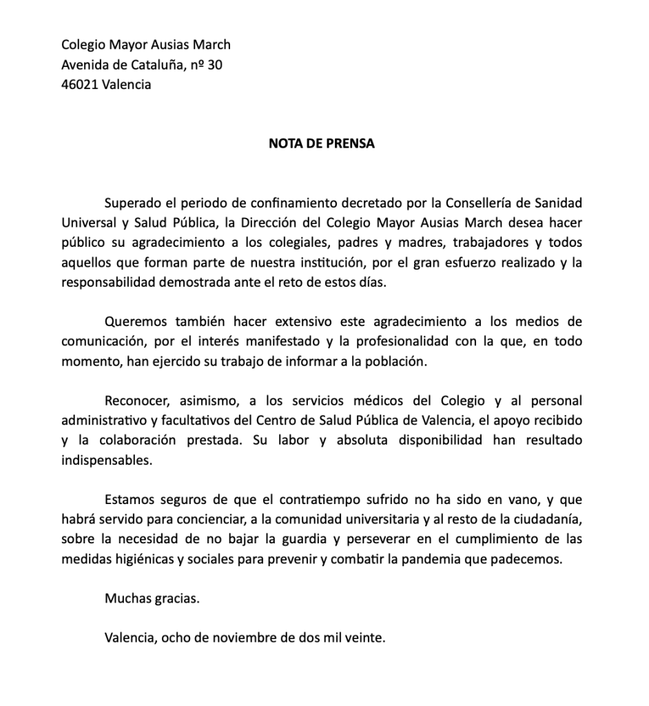 nota de prensa - Colegio Mayor Ausias March